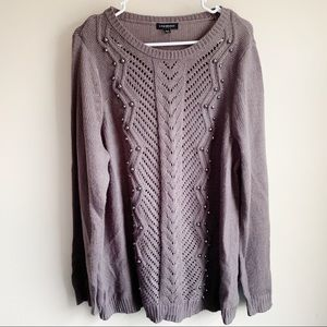 Lane Bryant Gray Embellished Open Knit Sweater